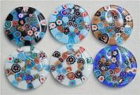 JLB Wholesale 6pcs Baroque Colorful Fashion Lampwork Millefiori glass murano necklace pendants FREE SHIPPING