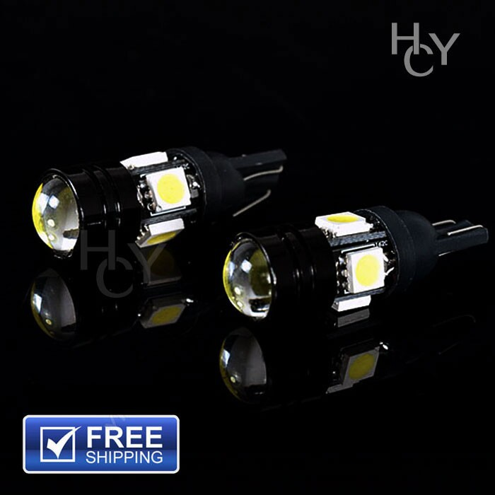 2015 Top sale Free shipping 12V T10 5W 5bulbs LED lights for Auto Car Lamp COB Projector Lens Interior Packing Car Styling light(China (Mainland))