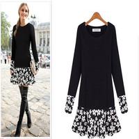 2014 Autumn Big Size Women Dress flower printed Dress Vestidos cute Plus Size Fashion Fall Dresses Girls Vestido Black AY851927