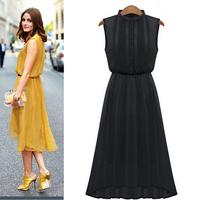 2014 New Arrival Women's Summer Elegant Chiffon Dress Europe Slim Waist Sleeveless Vintage Casual Dresses Plus Size S-XL