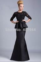 Black Lace Satin 3/4 Sleeves Beaded Mermaid Mother of the Bride Dresses 2015 New Arrival Designer Peplum Formal Evening Dresses