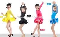 Free ship children girls long sleeve latin dance dress professional luxury rhinestone dance leotard stage performance dance wear
