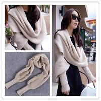 2014 autumn winter ultra long muffler brand scarves unisex yarn knitted women cape lovers design sleeves scarf female AY851919