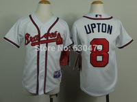 stitched  youth Atlanta Braves Jerseys 8 Justin Upton  kid's /youth  baseball Jerse baseball shirt