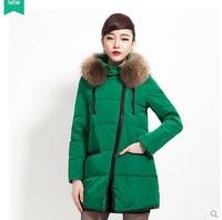 2014 High Quality new Slim detachable fur collar coat thick down jacket women's coats winter outwear women winter coat