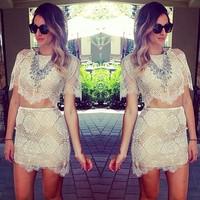 2014 Free shipping Fashion 2 piece  lace dress. Party Dress