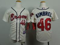 stitched  youth Atlanta Braves Jerseys 46 Craig Kimbrel  kid's /youth  baseball Jerse baseball shirt