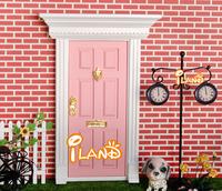 1:12 Dolls house Miniature Wood Painted Light Pink Exterior Door W/ Metal Accessories 50 PCS Wholesale