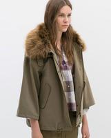 Brand New 2015 Fashion Women Ladies Army Stylish Brief Faux Fur Neck Parker Jacket Winter Coat Jackets