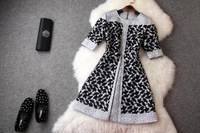 2014 autumn new European and American big jacquard stitching embroidery soluble flowers fifth sleeve retro dress T2154