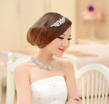 2014 Fashion Bride Adorn Article Three Suits Beautiful Necklace Earrings Crown Wedding Jewelry Marriage Gauze Accessories