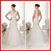 V neckline Wedding Dress With Lace Straps organza Mermaid Bridal Gowns Court train Low Back Organza