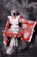 Anime  skin printed gorgeous Red Kimono Maid / Shi women cosplay  costume  JP