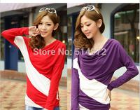 Hitz large size long-sleeved shirt female  fashion hit color oblique stitching loose long-sleeved t-shirt women Free shipping