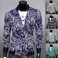 Autumn Winter Men's Fashion Jackets New Man Casual Long-sleeved Floral Coats Male Stand Collar Sports Hoodies Outerwear Clothing