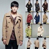 Autumn Winter Men's Slim Coats & Jackets Man Double Breast wool Outerwear Fashion Long-sleeved Overcoat Medium-long Woolen Coat
