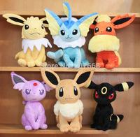 30cm Plush toys Pokemon dolls Jolteon Umbreon Flareon Eevee Espeon Vaporeon Kids Christmas gifts 6pcs/lot