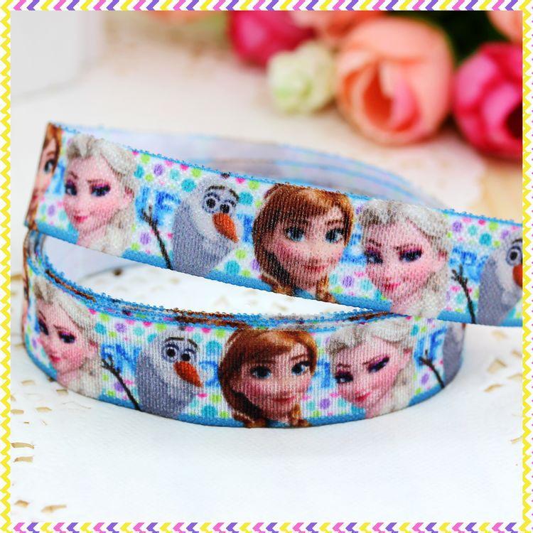 5/8 inch Free shipping Fold Over Elastic FOE anna elsa printed headband headwear diy hair band wholesale OEM H2827(China (Mainland))