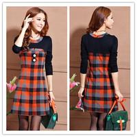 Autumn Women Dress Fall plaid long-sleeved bottoming dress Girls Vestidos Korea Style Women dress Long Sleeves AY851932