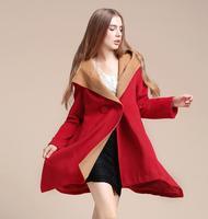 2014 European winter women wool coat casacos femininos outerwear irregular cloak medium-long overcoat woolen hooded trench 745