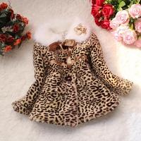 Free shipping   children's clothing promotional models girls leopard faux fur coat jacket wool sweater girls