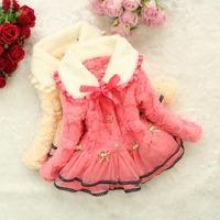 Free shipping 2014 girls winter coat Korean models Tong wavelet point edge four flowers silk wool sweater