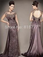 Hot Sale A-Line High Neck Elastic Satin Open Back  Long Lace Dress Party Evening Elegant