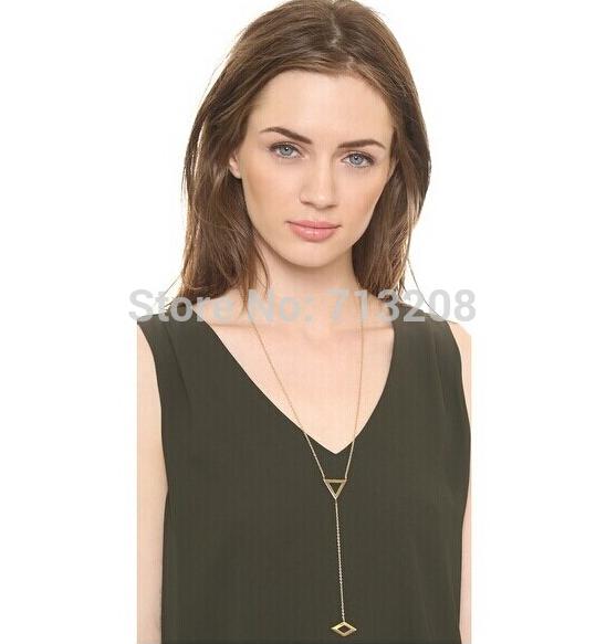 Fashion Triangle Forever Pendant Necklace Wholesale 21 Rhombus Necklace(China (Mainland))