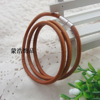 Free shipping Real Leather Bracelet for Men and Women three rows leather bracelets Wholesales