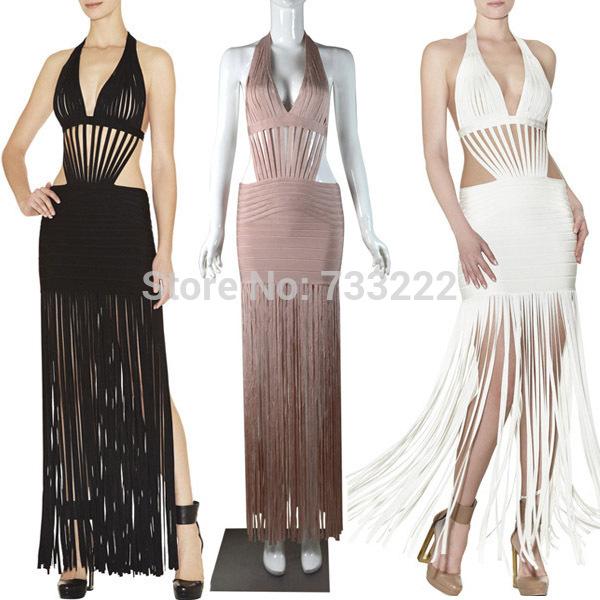 Artísticas 2014 Nova mulheres elásticas com borla HL vestido bandagem longa festa vestidos de noite formal celebridade Prom Vestido Longo