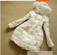 Original Italy brand D3N 2014 fahsion winter reccoon fur collar slim long winter down coat women double breast outware