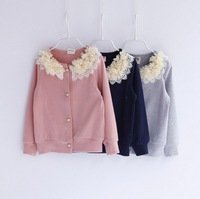new 2014 child girl fashion autumn winter pink navy blue flower lace collar casual-jacket kids girl cardigan jackets outerwear