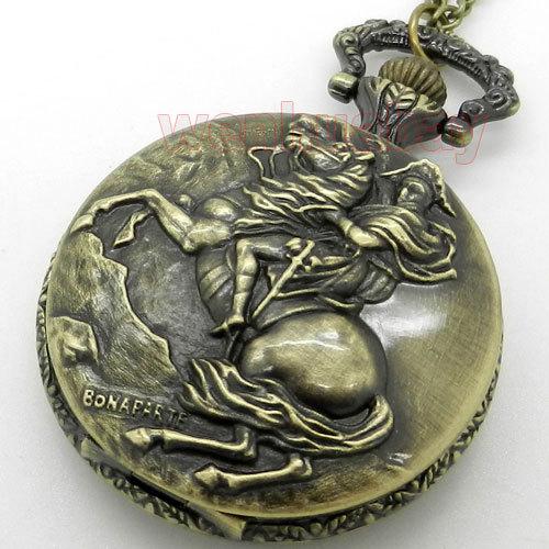 Vintage Knight Ride Horse Quartz Pocket Watch Necklace Pendant Mens Gift P93(China (Mainland))