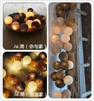 Free shipping!!35 balls/set Burgundy Cotton Balls String Lights Handmade For Decoration/Lighting Holiday Party Wedding Xmas Gift