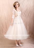 Smart A-Line V Neck Satin Sash Tulle Lace Mid-Calf Evening Dresses Party Dresses