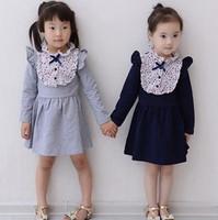 child girl new fashion 2014 autumn winter floral print patchwork petal long sleeve princess party dress wholesale clothes lot