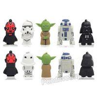 Wholesale 50pcs lot pvc Cartoon pendrive Starwars Star wars USB Flash drive Yoda Darth Vader pen drive memory disk 1G 32G