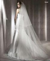 Hot Sale 2014 Bridal Wedding Accessories Cheap Bridal Veils More Than 1.75 Meters Top Design Ribbon Edge Long Wedding Veils