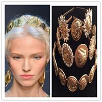 Free Shipping (MOQ 10 $ Mix)  European vintage  Baroque style portrait  Czech Diamond metal tiara hair hoop headband Wholesale