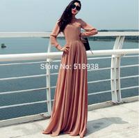 Stunning! 2014 autumn winter women vintage fashion long sleeve chiffon dress floor-length plus size solid sexy brand dresses xxl