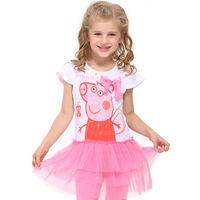 summer dress 2014 Peppa pig girl's dress baby girls pepe pig dresses children clothing Kids cartoon wear child girl clothes