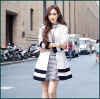 2014 Autumn new women's elegant white woolen coat black stripes hem waist belt A-line princess wool outwear winter warm SH-489