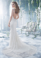 2014 Romantice Vestido de noiva Sexy V-Neck Long Mermaid Lace Bridal Gown Capped Sleeves Wedding Dresses Backless LW52