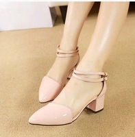2014 new spring summer point hollow out a single thick with shallow mouth sweet word with high heels for women's shoes X261