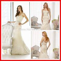 Sweetheart Neckline A Line Lace Bodice Satin Designer Wedding Gown Asymmetrical Pleating Bridal Dress With Lace Hem Chapel Train