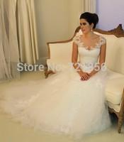 Fashionable A-Line Romantice Lace Wedding Dresses 2014 Sexy Cap Sleeves Court Train Backless Bridal Gowns Vestido de noiva LW51