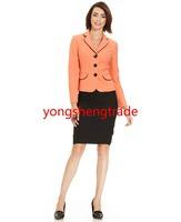Brand Skirt Suit Custom Made Suit Notched Collar Flap Pocket Orange Jacket Pencil Silhouette Black Skirt Full Lined 733