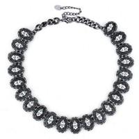 2014 new fashion za brand jewelry necklace vintage crystal bib statement necklace for women black plated