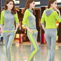New 2014 Autumn Fashion Women Sports Suit (Hoodies+Pants) 2Pcs/Set Casual Cardigan Zipper Slim Hoodies,sweatshirts Plus Size