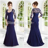 Fabulous A-Line Sweetheart Three Quarter Sleeves Chiffon Long Royal Blue Formal Evening Dress  Dress for Prom